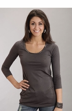 Stetson Women's 3/4 Sleeve Knit Shirt with Metal Studs - Grey (Closeout)