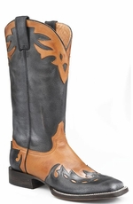 Stetson Women's Handmade Cowboy Boots with Overlay - Black/ Brown