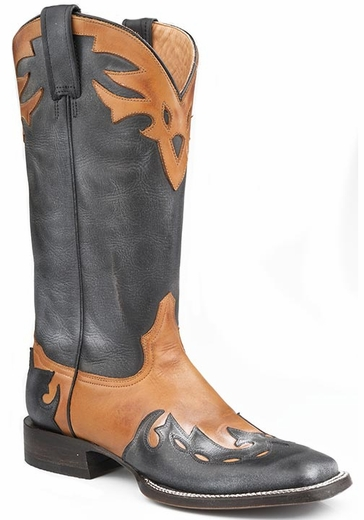 Stetson Women's Handmade Cowboy Boots with Overlay - Black/ Brown (Closeout)