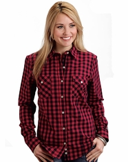 Stetson Women's Long Sleeve Buffalo Check Snap Shirt - Red (Closeout)