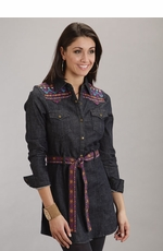 Stetson Women's Long Sleeve Embroidered Denim Shirt Dress (Closeout)