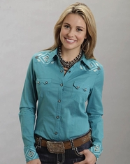 Stetson Women's Long Sleeve Embroidered Snap Shirt - Blue