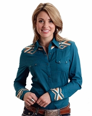 Stetson Women's Long Sleeve Embroidered Snap Shirt - Teal (Closeout)