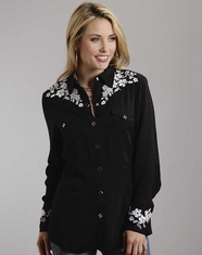 Stetson Women's Long Sleeve Floral Embroidery Snap Shirt - Black