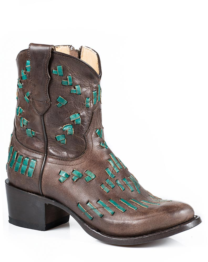 stetson s maddie 7 quot turquoise laced ankle boots brown