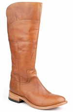 "Stetson Womens 15"" Dip Back Shaft Boot with Low Riding Heel - Brown"