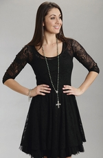 Stetson Womens 3/4 Sleeve Stretch Lace Dress - Black (Closeout)