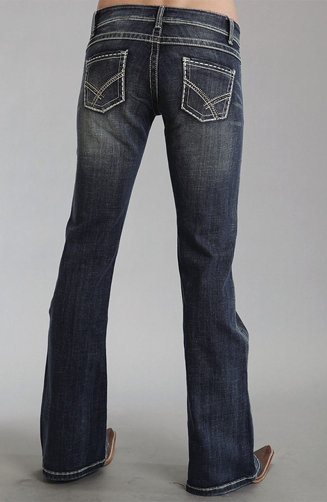 Stetson Womens 816 Classic Boot Cut Jeans with Rhinestones - Dark Wash