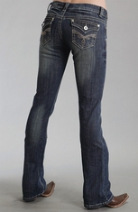 Stetson Womens 818 Slim Fit Boot Cut Jeans - Dark Wash