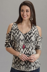 Stetson Womens Aztec Print Cold Shoulder Top - Black