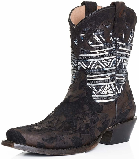 Stetson Womens Beaded Rafia Short Shaft Cowboy Boots - Black Crackle (Closeout)