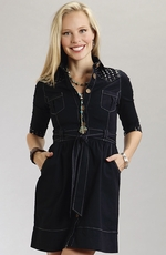 Stetson Womens Denim Dress with Studs - Dark Wash
