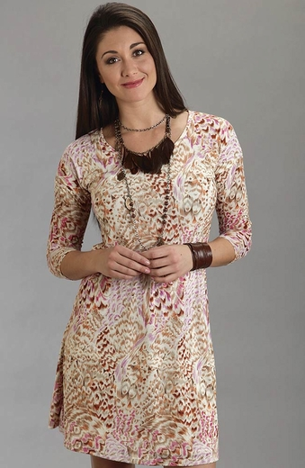 Stetson Womens Feather Print Dress - Cream (Closeout)