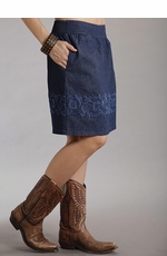 Stetson Womens Embroidered Stretch Denim Skirt (Closeout)