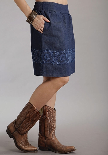 Stetson Womens Embroidered Stretch Denim Skirt
