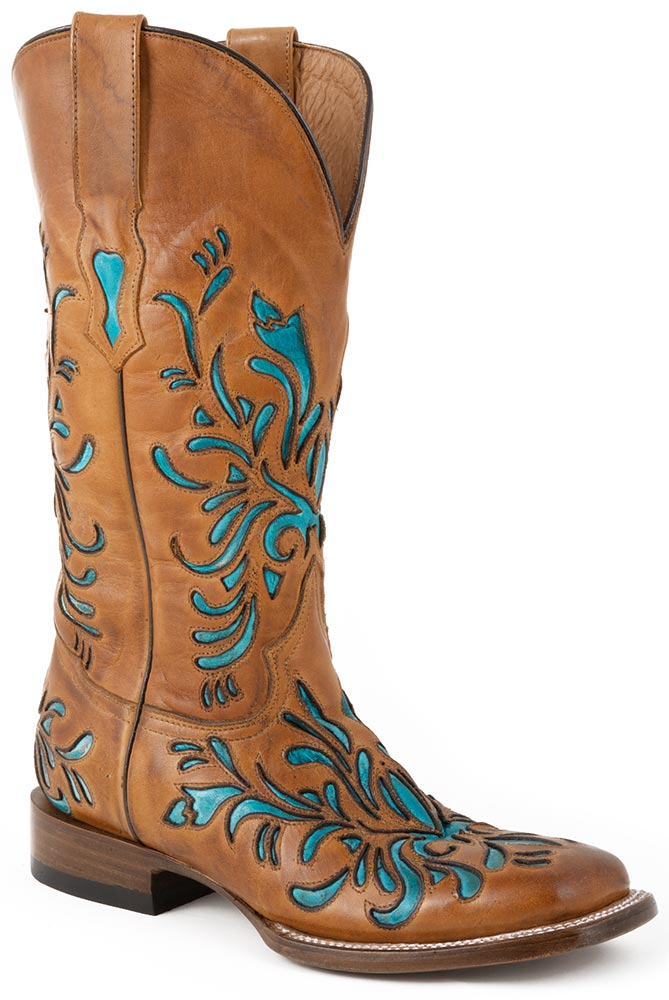 Stetson Womens Handmade Turquoise Underlay Cowboy Boots - Tan
