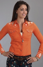Stetson Womens Long Sleeve Embroidered Western Shirt - Orange