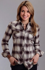 Stetson Womens Long Sleeve Studded Snap Western Shirt - Taupe (Closeout)