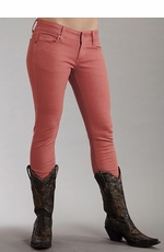 Stetson Womens Pixie Stix Colored Skinny Jeans - Coral (Closeout)