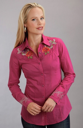 Stetson Womens Long Sleeve Embroidered Snap Western Shirt - Pink