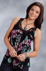 Studio West Womens Floral Top - Black (Closeout)
