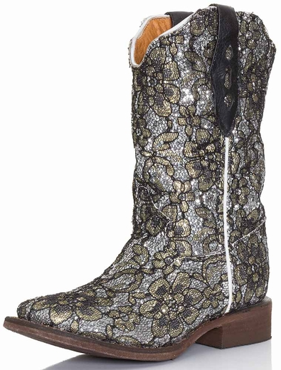 Tanner Mark Kids Flower Cowboy Boots