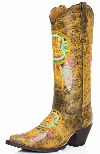 Tanner Mark Womens Live Your Dream Snip Toe Cowboy Boots - Yellow/Neon