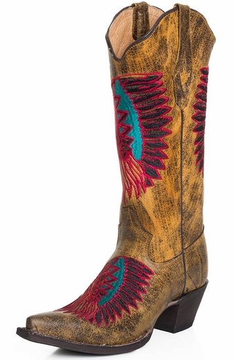 Tanner Mark Womens Snip Toe Indian Head Cowboy Boots - Buttercup