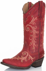 Tanner Mark Womens Ginger Cowgirl Boots - Red