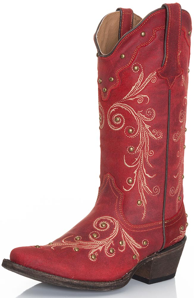 Tanner Mark Womens Ginger Cowgirl Boots - Red (Closeout)