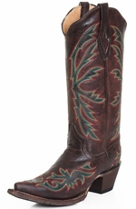 Tanner Mark Womens Snip Toe Boots - Dark Brown
