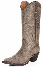 Tanner Mark Womens Snip Toe Crackle Cowboy Boots - Tan (Closeout)