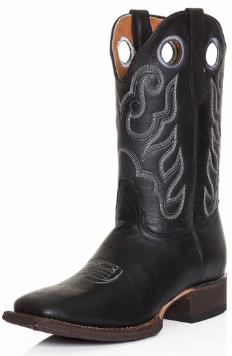 Tanner Mark Mens Crackle Square Toe Cowboy Boots - Black (Closeout)