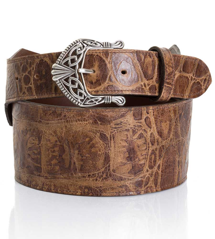 "Texas Leather Womens 3"" Wide Alligator Print Belt - Brown"