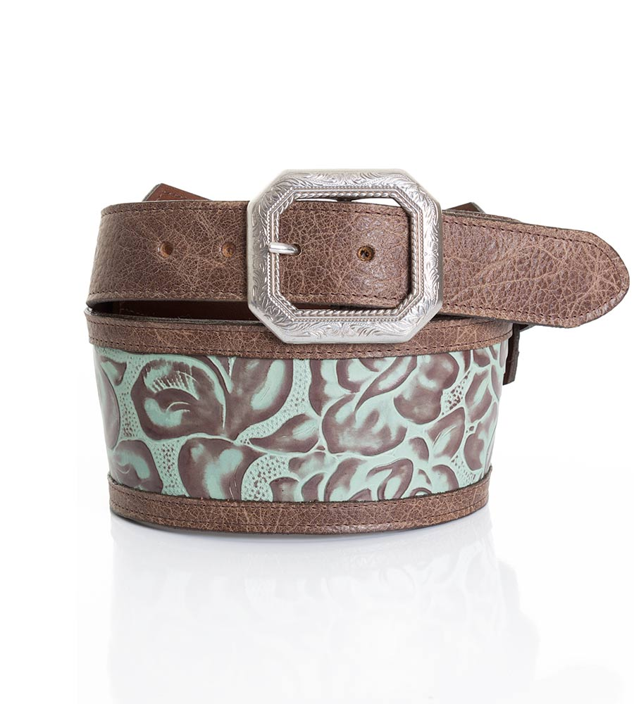 "Texas Leather Womens 3"" Wide Floral Embossed Belt - Turquoise"