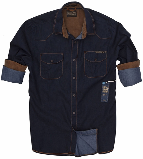 Third & Army Mens Long Sleeve Derrick Shirt - Indigo
