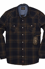Third & Army Mens Long Sleeve Drifter Western Shirt - Indigo