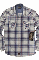 Third & Army Mens Long Sleeve Drifter Plaid Western Shirt - Ivory (Closeout)