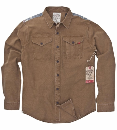 Third & Army Mens Myah Long Sleeve Button Down Western Shirt - Camel (Closeout)