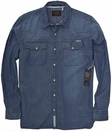 Third & Army Mens Long Sleeve Skedaddle Western Shirt - Chambray Print