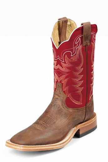 Tony Lama Boots - Men's San Saba Antique - Tan Vintage Goat / Red Roma Calf