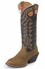 "Tony Lama Men's 3R 16"" Buckaroo Tan Crazy Horse - Black Baron Calf"