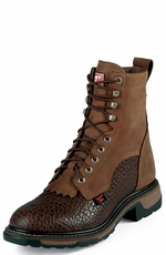 "Tony Lama Men's 8"" TLX Western Work Packer Boots - Chocolate Shoulder/Tan Cheyenne"