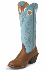 "Tony Lama Women's 3R 16"" Buckaroo Beige Renegade - Ranch Blue Baron"
