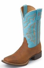 "Tony Lama Women's 3R ™ 11"" Stockman Rojo Bridle - Ranch Blue Baron Calf"