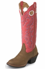 "Tony Lama Women's 3R ™ 16"" Buckaroo Sorrel Bridle Foot Cowboy Boots - Indian Pink Baron"