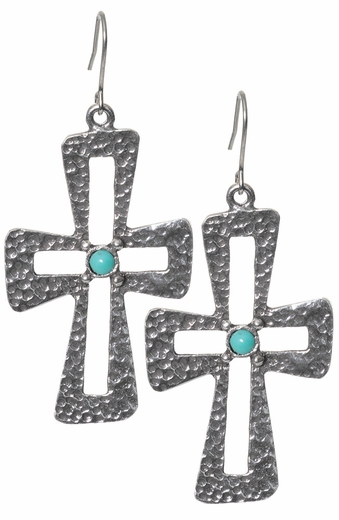 Triple Creek Womens Aspen Cut Out Cross Earrings - Turquoise