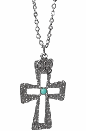 Triple Creek Womens Aspen Cut Out Cross Necklace - Turquoise