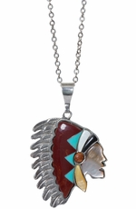 Triple Creek Womens Turquoise Indian Necklace