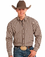 Tuf Cooper Men's Long Sleeve Check Button Down Shirt - Brown
